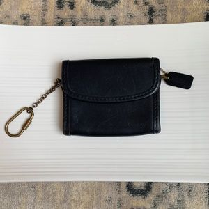Coach Black Leather small coin wallet